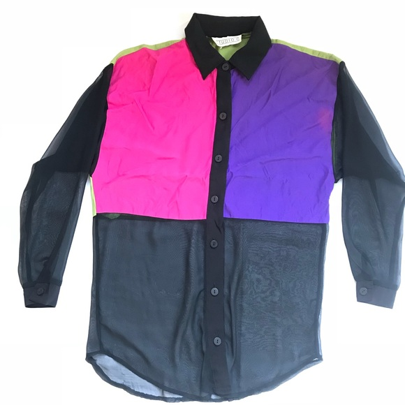 80s 90s Sheer Neon Abstract Button Down Blouse Size L